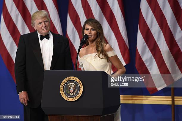 President Donald Trump and First Lady Melania Trump give a speech during the Salute to Our Armed Services Inaugural Ball at the National Building...