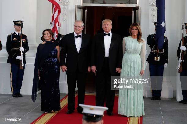 US President Donald Trump and First Lady Melania Trump greet Australian Prime Minister Scott Morrison and his wife Jenny Morrison ahead of a state...
