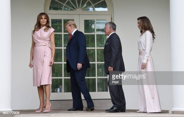 S President Donald Trump and first lady Melania Trump greet King Abdullah II and Queen Rania of Jordan on their arrival at the South Portico of the...