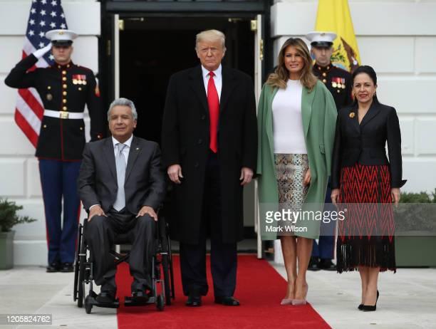 President Donald Trump and first lady Melania Trump greet President of the Republic of Ecuador Lenín Moreno, and Mrs. Rocio Gonzales De Moreno at the...