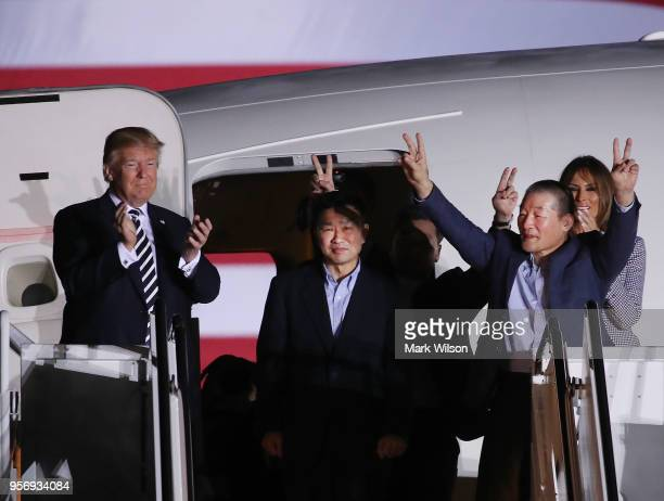 S President Donald Trump and first lady Melania Trump greet the three Americans just released from North Korea Kim Dong Chul Kim Haksong and Tony Kim...
