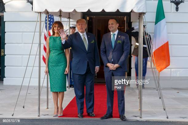 President Donald Trump and first lady Melania Trump greett Prime Minister Leo Varadkar of Ireland at the White House on March 15 2018 in Washington DC