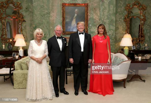 President Donald Trump and First Lady Melania Trump host a dinner at Winfield House for Prince Charles, Prince of Wales and Camilla, Duchess of...