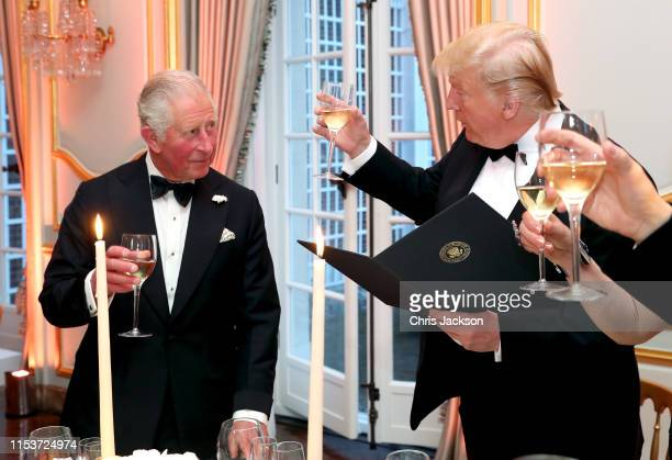 President Donald Trump and First Lady Melania Trump host a dinner at Winfield House for Prince Charles Prince of Wales and Camilla Duchess of...