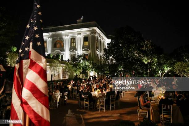 US President Donald Trump and First Lady Melania Trump host a state dinner for Australian Prime Minister Scott Morrison and his wife Jenny Morrison...
