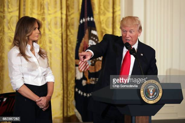 S President Donald Trump and first lady Melania Trump host an event for military mothers on National Military Spouse Appreciation Day May 12 2017 in...