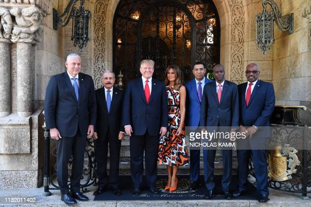 US President Donald Trump and First Lady Melania Trump host Caribbean leaders Allen Michael Chastanet Prime Minister of Saint Lucia Danilo Medina...