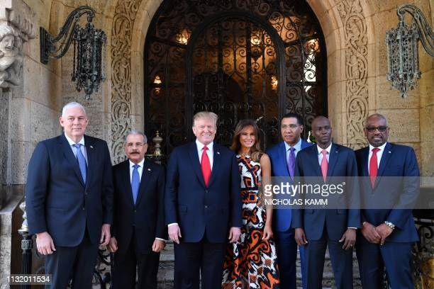 US President Donald Trump and First Lady Melania Trump host Caribbean leaders at the MaraLago estate in West Palm Beach Florida on March 22 2019 From...