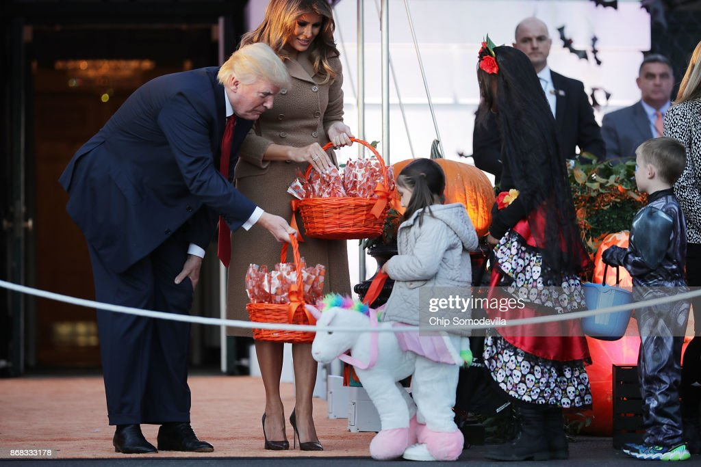 U.S. President Donald Trump (L) and first lady Melania Trump host Halloween  at the