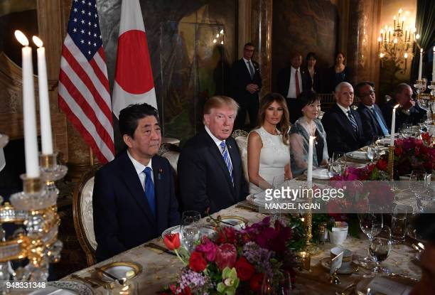 US President Donald Trump and First Lady Melania Trump host Japan's Prime Minister Shinzo Abe and his wife Akie Abe for a dinner at Trump's MaraLago...