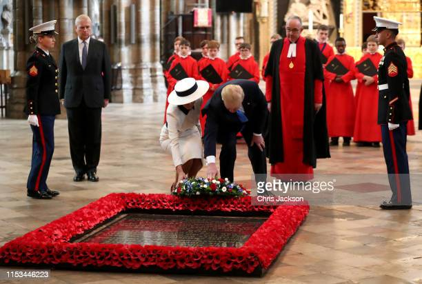 President Donald Trump and First Lady Melania Trump lay a wreath at the Grave of the Unknown Warrior during their visit to Westminster Abbey on June...