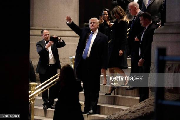 President Donald Trump and First Lady Melania Trump leave after dinner at Trump nternational Hotel on April 7 2018 in Washington DC