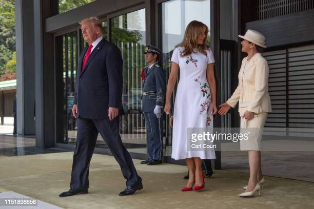 President Donald Trump and First Lady Melania Trump leave after meeting Emperor Naruhito and Empress Masako at the Imperial Palace on May 27 2019 in...