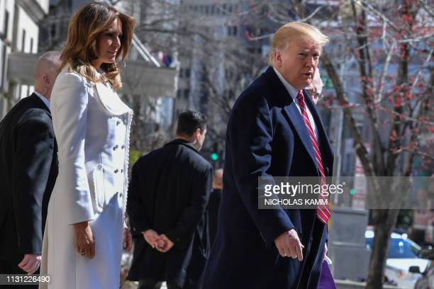 US President Donald Trump and First Lady Melania Trump leave St Johns Episcopal church in Washington DC on March 17 2019