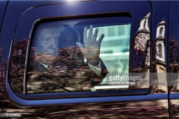 President Donald Trump and First Lady Melania Trump leave St Johns Episcopal church in the motorcade in Washington DC on March 17 2019
