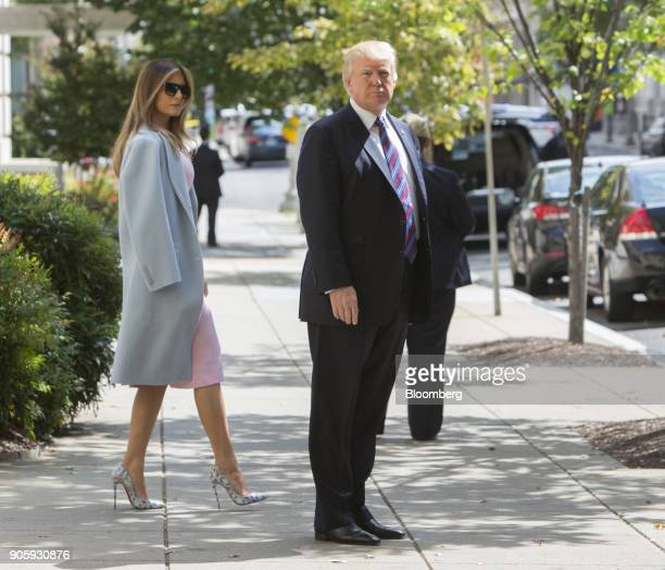 S President Donald Trump and First Lady Melania Trump leave St John's Church after a national day of prayer for the people affected by Hurricane...