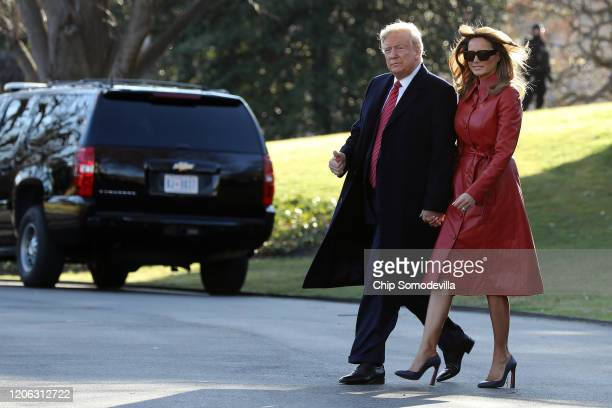 President Donald Trump and first lady Melania Trump leave the White House February 14, 2020 in Washington, DC. The Trumps are traveling to their...