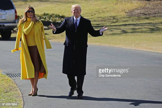 S President Donald Trump and first lady Melania Trump leave the White House February 5 2018 in Washington DC The Trumps are traveling to Cincinnati...