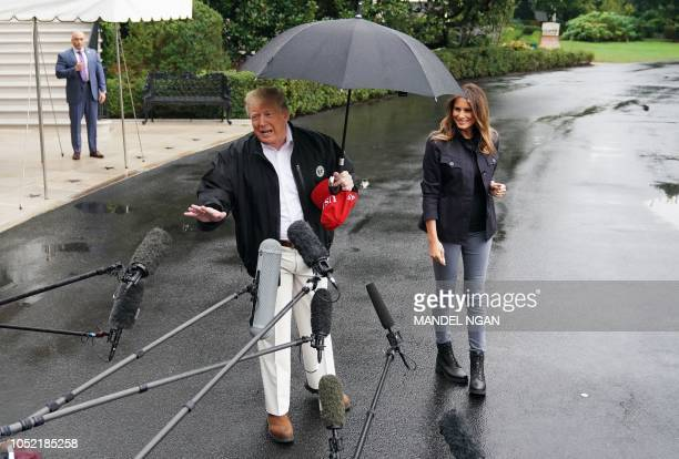 President Donald Trump and First Lady Melania Trump make their way to board Marine One from the South Lawn of the White House in Washington DC on...