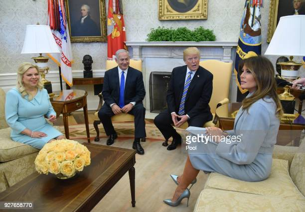 US President Donald Trump and first lady Melania Trump meet with Israel Prime Minister Benjamin Netanyahu and Sara Netanyahu in the Oval Office of...