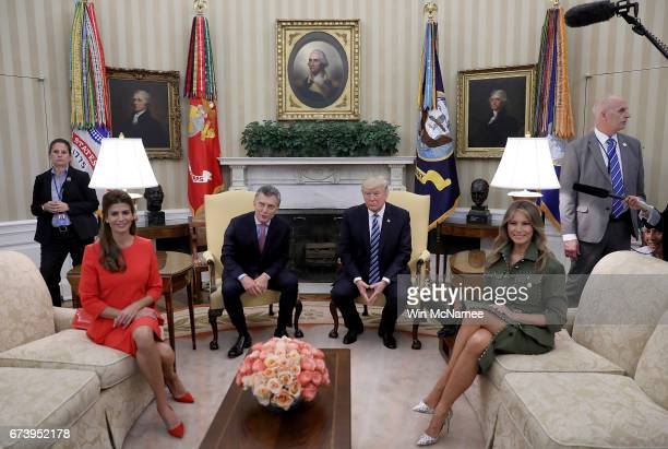 S President Donald Trump and first lady Melania Trump meet with President Mauricio Macri of Argentina and the first lady of Argentina Juliana Awada...