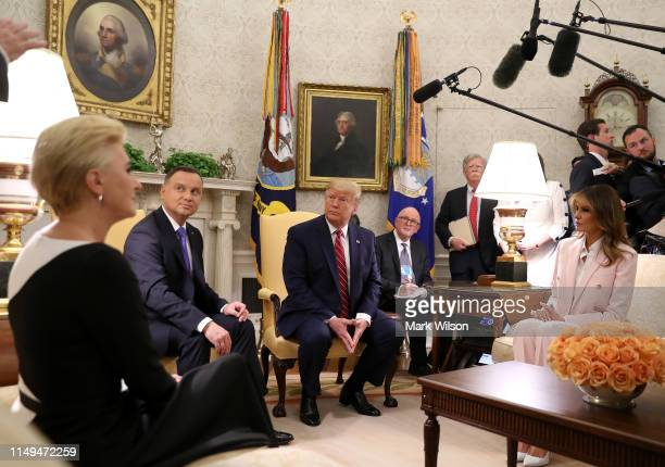 President Donald Trump and first lady Melania Trump meet with the President of Poland, Andrzej Duda and his wife Agata Kornhauser-Duda, in the Oval...