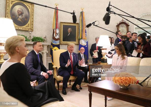S President Donald Trump and first lady Melania Trump meet with the President of Poland Andrzej Duda and his wife Agata KornhauserDuda in the Oval...