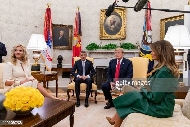 US President Donald Trump and First Lady Melania Trump meet with the Prime Minister of the Czech Republic Andrej Babi and his wife Monika Babiová in...