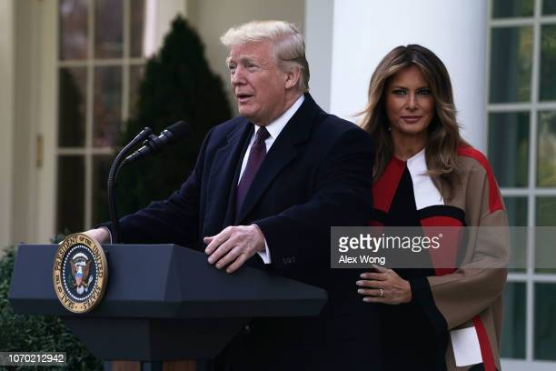 S President Donald Trump and first lady Melania Trump participate in a turkey pardoning event at the Rose Garden of the White House November 20 2018...