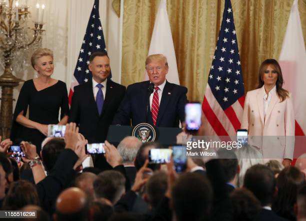 S President Donald Trump and first lady Melania Trump participate in a PolishAmerican reception with the President of Poland Andrzej Duda and his...