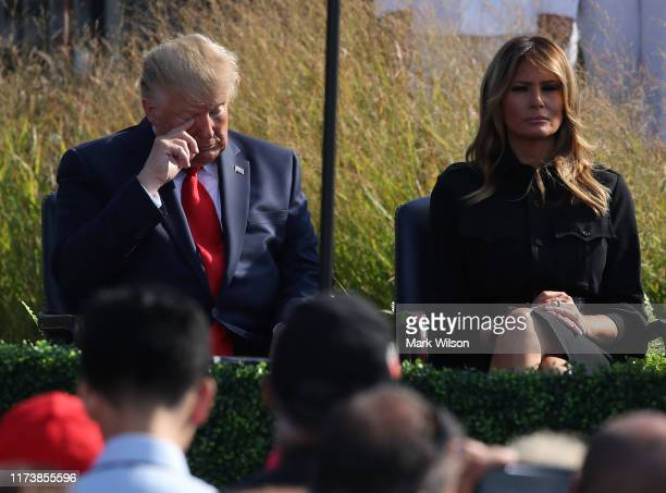 S President Donald Trump and first lady Melania Trump participate in a 911 memorial ceremony at the Pentagon to commemorate the anniversary of the...