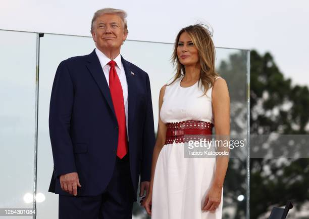 President Donald Trump and first Lady Melania Trump participate in an event on the South Lawn of the White House on July 04, 2020 in Washington, DC....