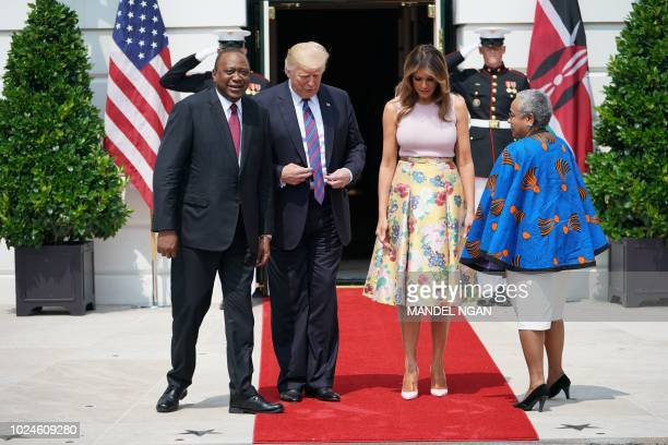 US President Donald Trump and First Lady Melania Trump participate in the arrival of the President of Kenya President Uhuru Kenyatta and Kenya's...