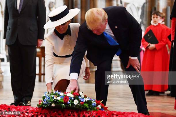 President Donald Trump and First Lady Melania Trump pay their respects at the Tomb of the Unknown Warrior in Westminster Abbey on June 3 2019 in...