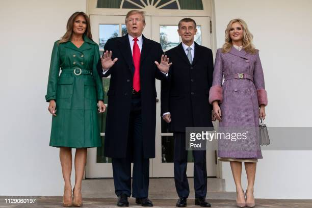 US President Donald Trump and First Lady Melania Trump pose for a photo with the Prime Minister of the Czech Republic Andrej Babi and his wife Monika...