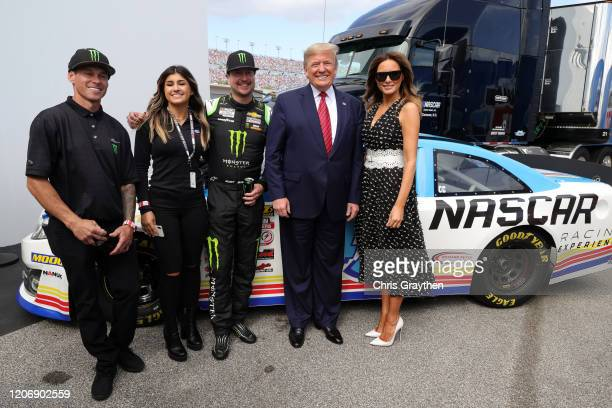 S President Donald Trump and First Lady Melania Trump pose for a photo with Brian Deegan Hailie Deegan and Kurt Busch driver of the Monster Energy...