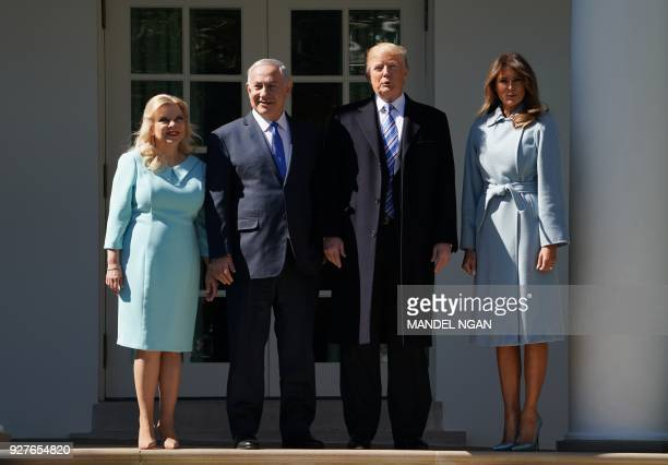 President Donald Trump and First Lady Melania Trump poses for a photo with Israel's Prime Minister Benjamin Netanyahu and his wife Sara Netanyahu in...