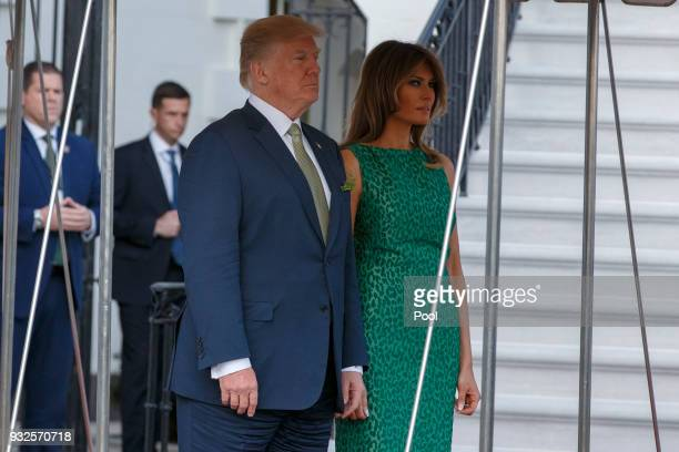 President Donald Trump and first lady Melania Trump prepare to greet Prime Minister Leo Varadkar of Ireland at the White House on March 15 2018 in...
