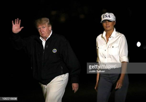S President Donald Trump and first lady Melania Trump return to the White House from Florida and Georgia on October 15 2018 in Washington DC US...
