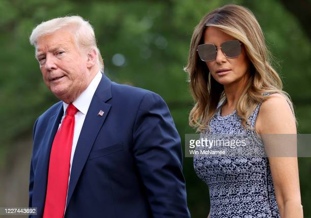 President Donald Trump and first lady Melania Trump return to the White House on May 27, 2020 in Washington, DC. Trump traveled to Florida to watch...