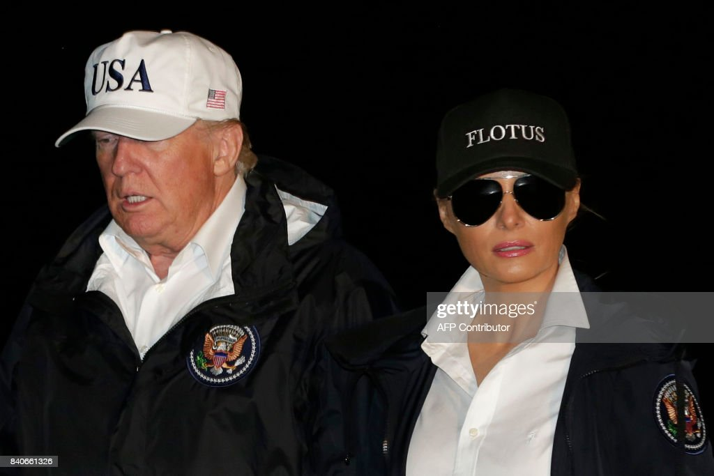 US President Donald Trump and First Lady Melania Trump return to the White House in Washington, DC, from Texas after viewing the damage caused by Hurricane Harvey on August 29, 2017. /