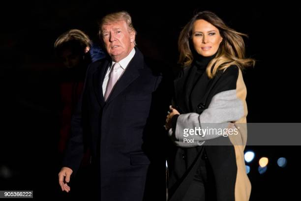 President Donald Trump and First Lady Melania Trump return to the White House following a weekend trip to MaraLago on the South Lawn of the White...