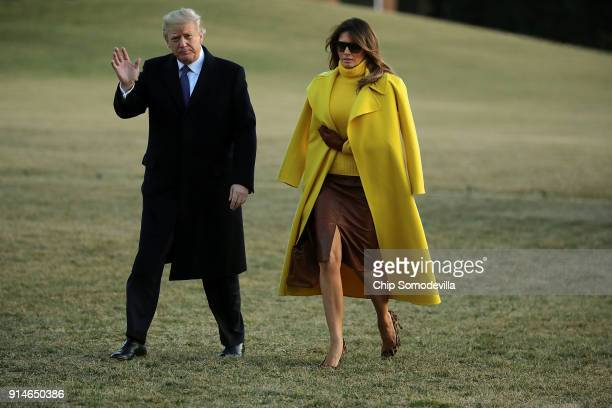 President Donald Trump and first lady Melania Trump return to the White House after a day trip to Cincinnati, Ohio, February 5, 2018 in Washington,...