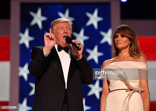 President Donald Trump and First Lady Melania Trump speak to supporters at the Liberty Ball at the Washington Convention Center on January 20 2017 in...