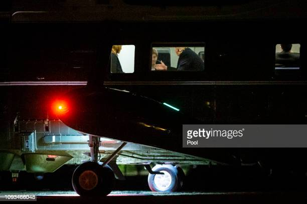 S President Donald Trump and first lady Melania Trump speak with son Barron Trump aboard Marine One on the South Lawn of the White House February 3...