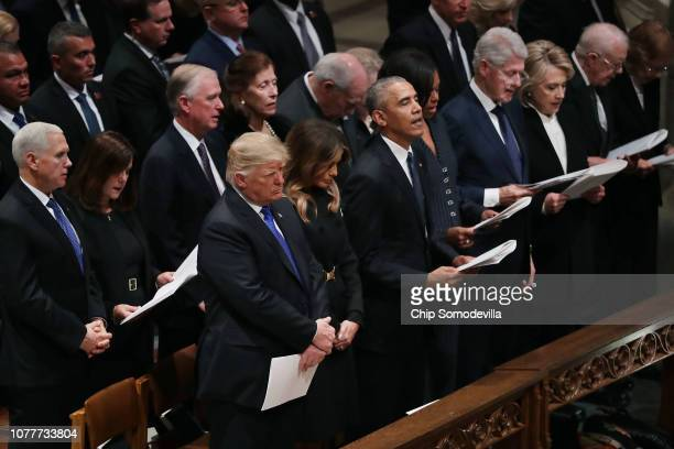 President Donald Trump and first lady Melania Trump stay silent as Vice President Mike Pence Karen Pence former Vice President Dan Quayle Marilyn...