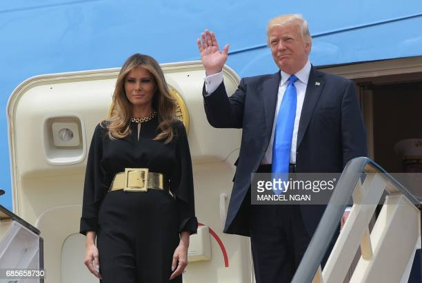 President Donald Trump and First Lady Melania Trump step off Air Force One upon arrival at King Khalid International Airport in Riyadh on May 20 2017...