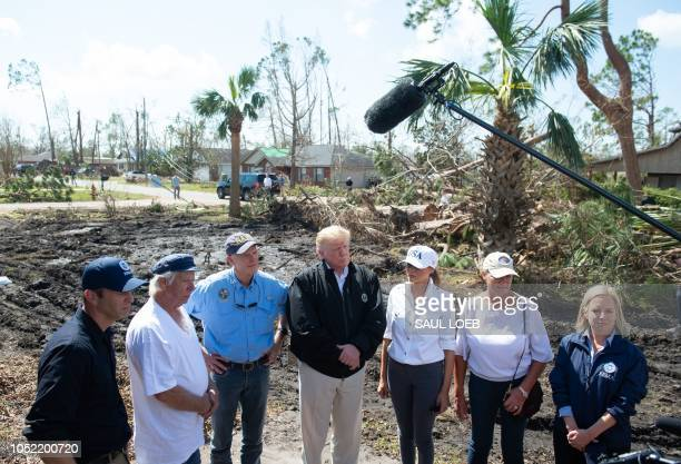 President Donald Trump and First Lady Melania Trump tour damage from Hurricane Michael in Lynn Haven Florida October 15 2018