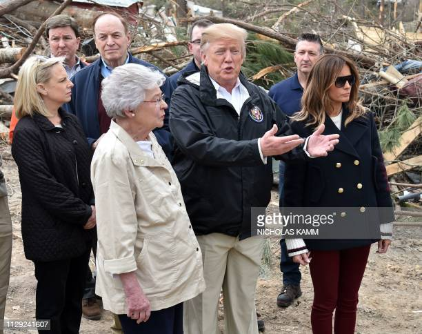 President Donald Trump and First Lady Melania Trump tour of tornado-affected areas with Homeland Security Secretary Kirstjen Nielsen , Senator...