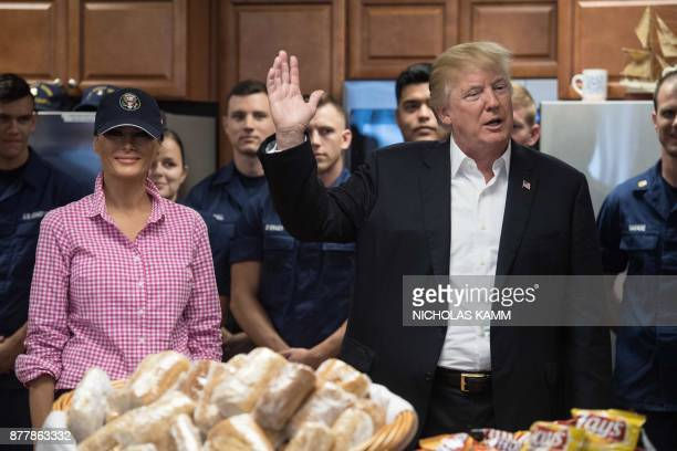 US President Donald Trump and First Lady Melania Trump visit members of the US Coast Guard at Station Lake Worth Inlet in Riviera Beach Florida on...